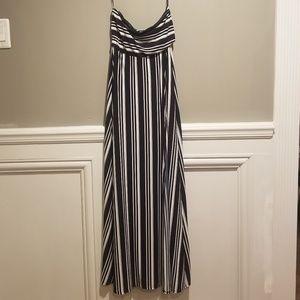 NWT! Navy/white stripe maxi dress